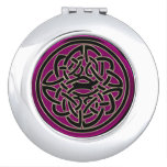 Dark Pink Celtic Fractal Design Travel Mirrors