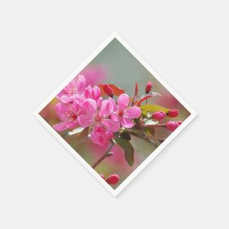 Dark Pink Cherry Blossoms Disposable Napkin