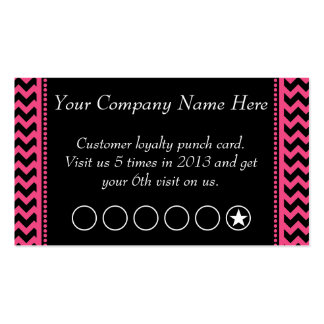 Dark Pink Chevron Discount Promotional Punch Card Business Cards