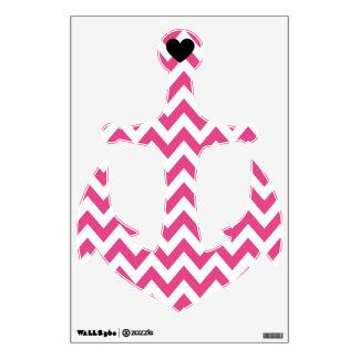 Dark Pink Chevron Heart Anchor Wall Decal
