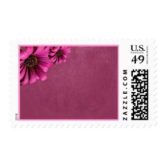Dark Pink Daisy Leather Postage Stamps
