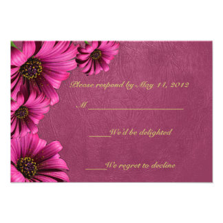 Dark Pink Daisy Leather RSVP Cards Announcement
