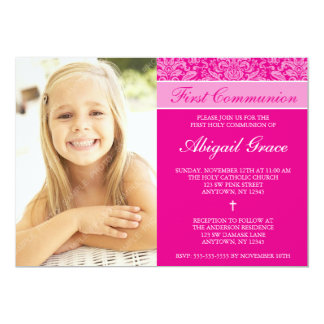 Dark Pink Damask Girl Photo First Communion Card