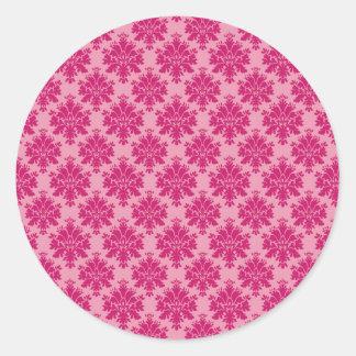 Dark pink damask rows on pink background pattern classic round sticker
