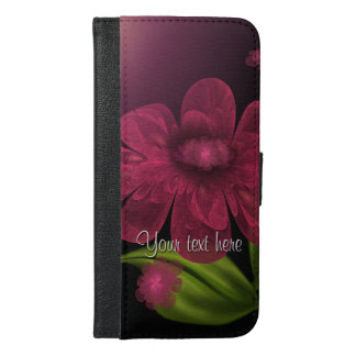Dark Pink Floral Personalized iPhone 6/6s Plus Wallet Case