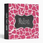 Dark Pink Giraffe Animal Print; Chalkboard Binder