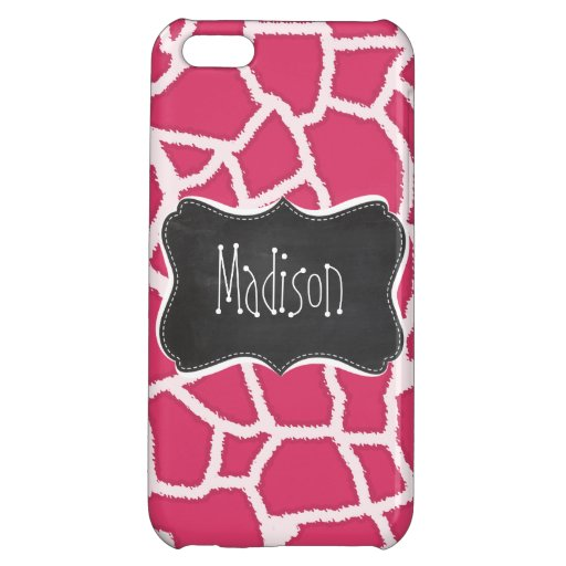 Dark Pink Giraffe Animal Print; Chalkboard Cover For iPhone 5C