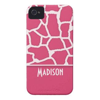 Dark Pink Giraffe Animal Print Personalized Case-Mate iPhone 4 Case