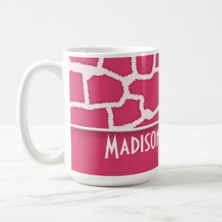 Dark Pink Giraffe Animal Print; Personalized Classic White Coffee Mug