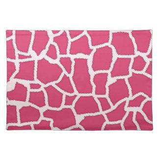 Dark Pink Giraffe Animal Print Place Mat