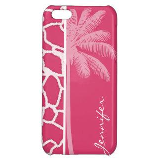 Dark Pink Giraffe Print; Summer Palm iPhone 5C Covers