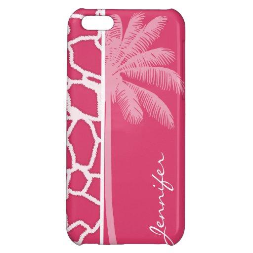 Dark Pink Giraffe Print; Summer Palm iPhone 5C Cases