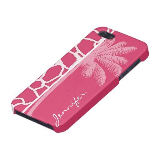 Dark Pink Giraffe Print; Summer Palm iPhone 5 Cases