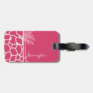 Dark Pink Giraffe Print; Summer Palm Travel Bag Tags