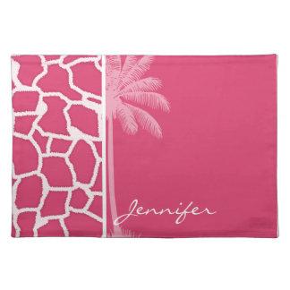Dark Pink Giraffe Print Summer Palm Placemat