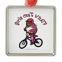 Dark Pink Girls BMX Christmas Ornaments