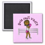 Dark Pink Girls Boxing 2 Inch Square Magnet