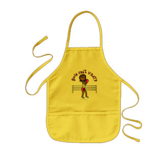 Dark Pink Girls Boxing Kids' Apron