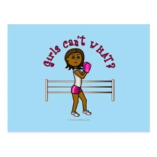 Dark Pink Girls Boxing Postcard