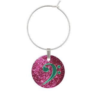 Dark Pink Glitter and Green Music Bass Clef Charm