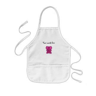 Dark pink glitter elephant kids' apron