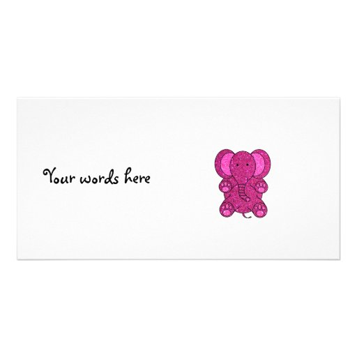 Dark pink glitter elephant photo greeting card