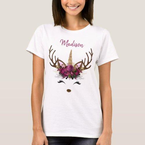 Dark Pink Gold Monogram Christmas Unicorn Reindeer T_Shirt