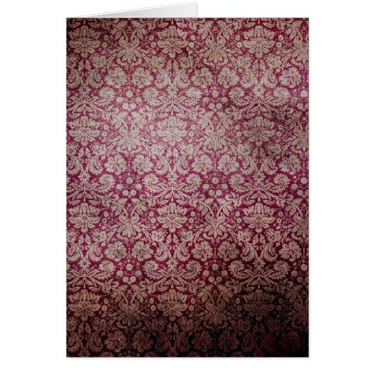 Dark pink grunge damask wallpaper card