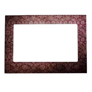 Dark pink grunge damask wallpaper magnetic frame