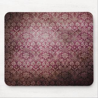 Dark pink grunge damask wallpaper mouse pads
