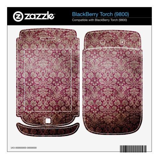 Dark pink grunge damask wallpaper BlackBerry decal
