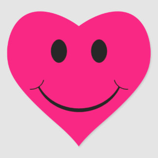 Dark Pink Heart Smiley Face Stickers