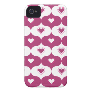 Dark Pink hearted pattern iPhone 4 Case-Mate Case