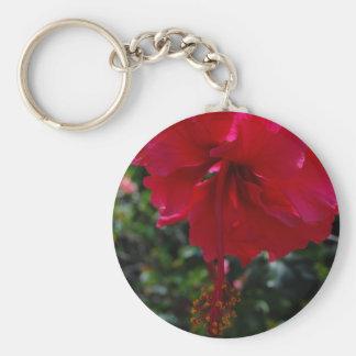Dark Pink Hibiscus Keychain