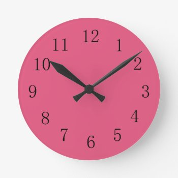 Dark Pink Kitchen Wall Clock by Red_Clocks at Zazzle