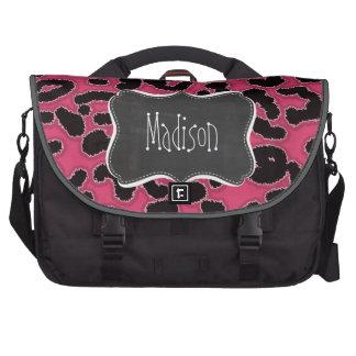 Dark Pink Leopard Animal Print; Chalk look Computer Bag