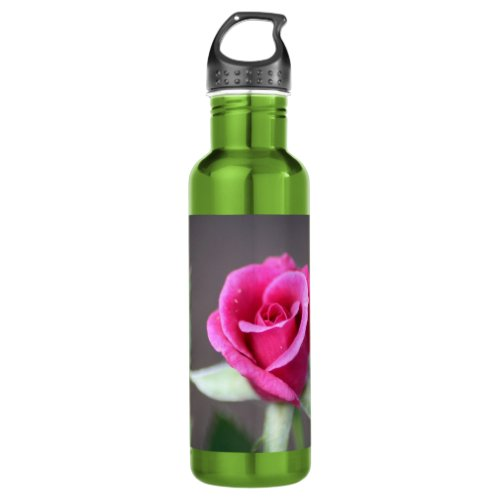 dark pink mini rose stainless steel water bottle
