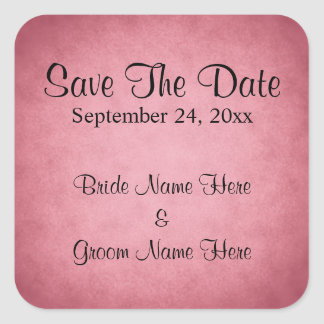 Dark Pink Mottled Pattern Wedding Save The Date Square Sticker