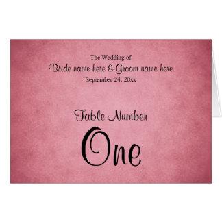 Dark Pink Mottled Pattern Wedding Table Number Stationery Note Card