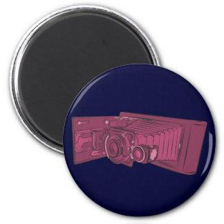 Dark Pink Old Camera 2 Inch Round Magnet