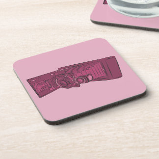 Dark Pink Old Camera Drink Coaster