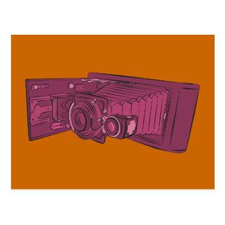 Dark Pink Old Camera Postcard