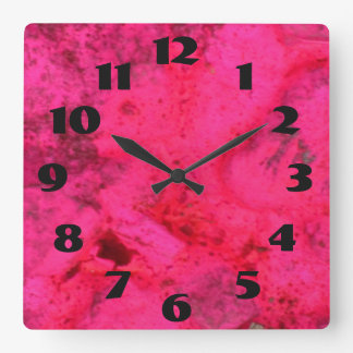 Dark Pink On Pink Square Wall Clock