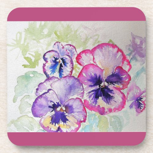 Dark Pink Pansy Watercolour Flower floral Coasters