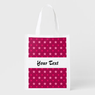 Dark pink pattern with stars market totes