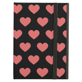 Dark Pink Polka Dot Hearts (Black Background) Case For iPad Air