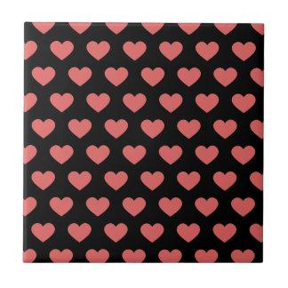 Dark Pink Polka Dot Hearts (Black Background) Ceramic Tile