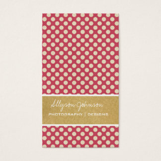 Dark Pink Polka Dots  Background Business Cards