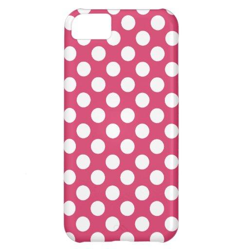 Dark Pink Polka Dots iPhone 5C Cases