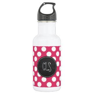 Dark Pink Polka Dots; Retro Chalkboard look Stainless Steel Water Bottle